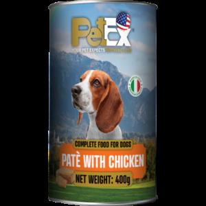 פטקס שימורי מזון לכלבים -חתיכות עוף ברוטב עסיסי 405 גרם